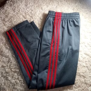 Adidas grey with red three stripe track pants